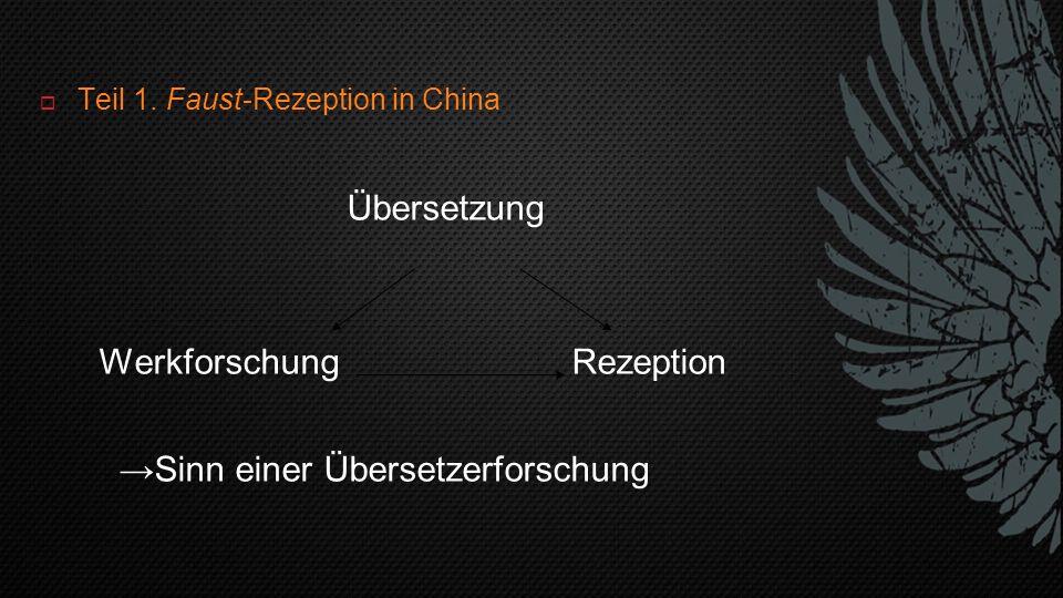  Teil 1. Faust-Rezeption in China Übersetzung Werkforschung Rezeption →Sinn einer Übersetzerforschung