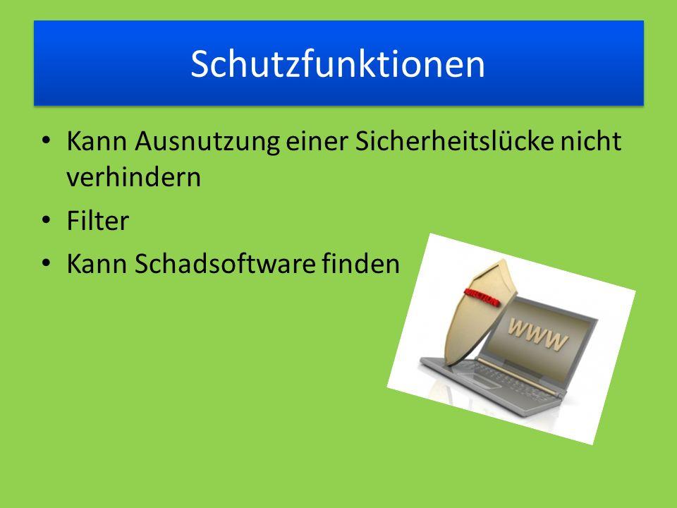 Schutzfunktionen Kann Ausnutzung einer Sicherheitslücke nicht verhindern Filter Kann Schadsoftware finden