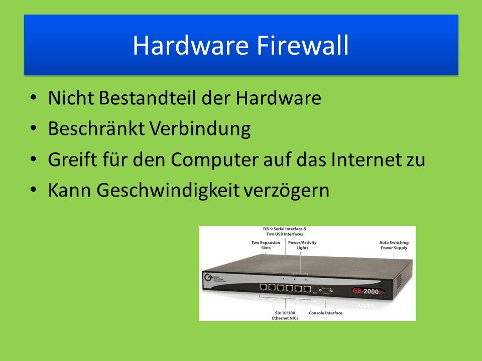 Hardware Firewall Nicht Bestandteil der Hardware Beschränkt Verbindung Greift für den Computer auf das Internet zu Kann Geschwindigkeit verzögern