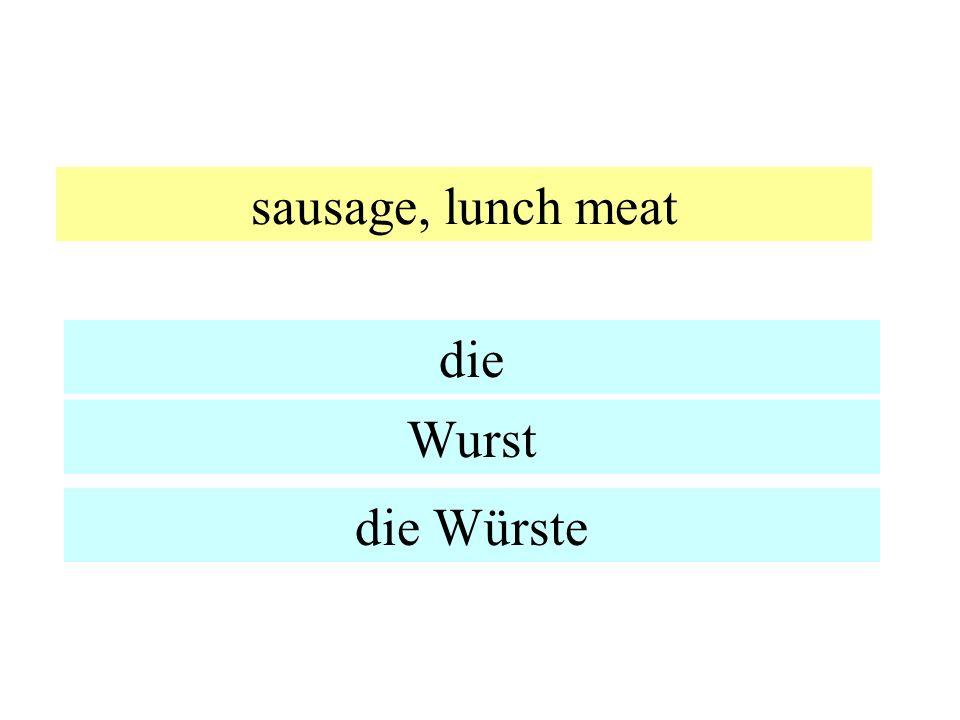 sausage, lunch meat die Wurst die Würste