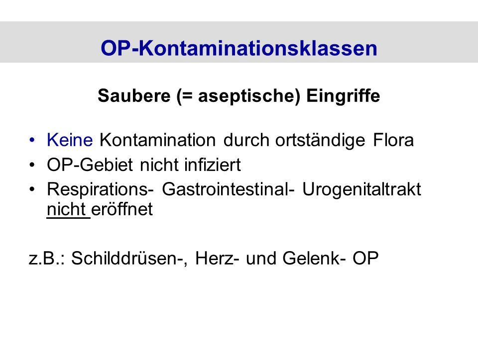 OP-Kontaminationsklassen Saubere (= aseptische) Eingriffe Keine Kontamination durch ortständige Flora OP-Gebiet nicht infiziert Respirations- Gastroin