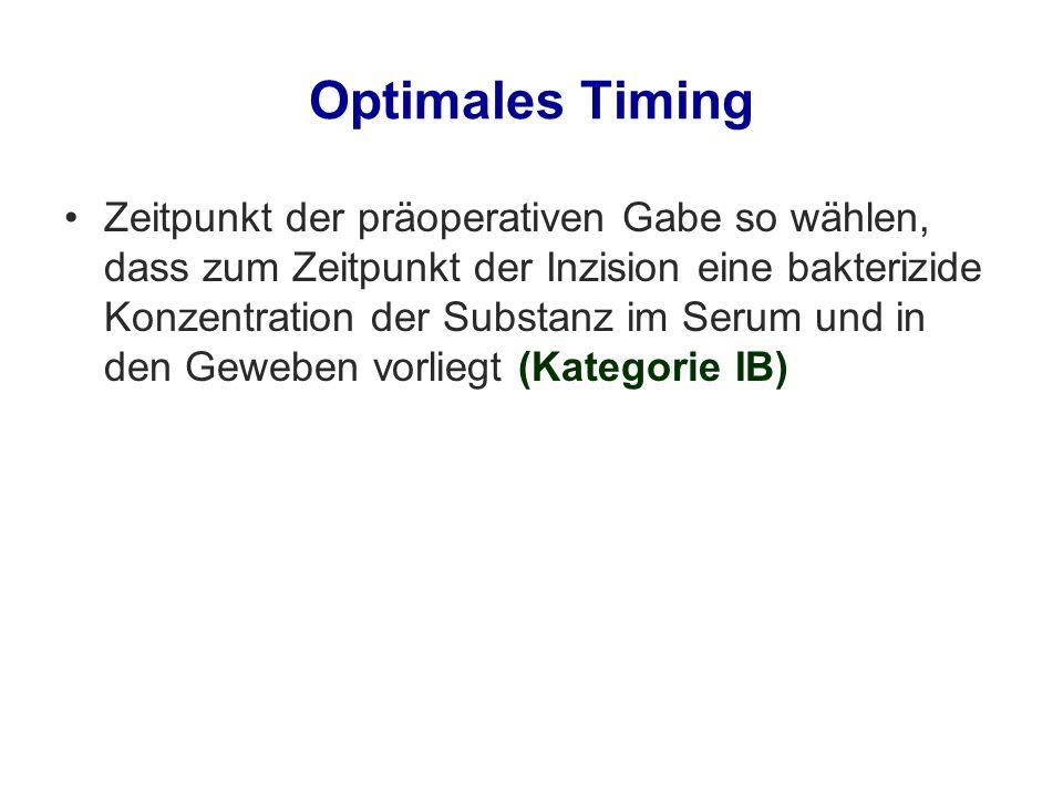 Optimales Timing Zeitpunkt der präoperativen Gabe so wählen, dass zum Zeitpunkt der Inzision eine bakterizide Konzentration der Substanz im Serum und