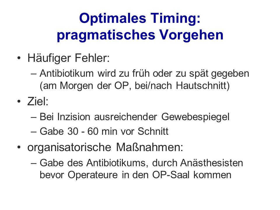 Optimales Timing: pragmatisches Vorgehen Häufiger Fehler: –Antibiotikum wird zu früh oder zu spät gegeben (am Morgen der OP, bei/nach Hautschnitt) Zie