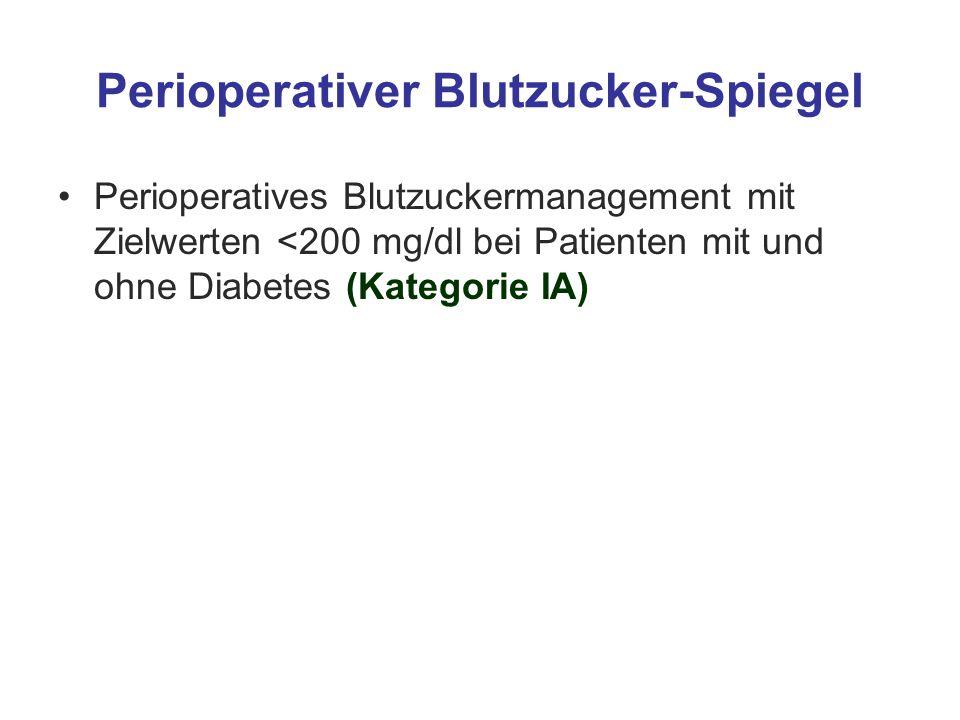 Perioperativer Blutzucker-Spiegel Perioperatives Blutzuckermanagement mit Zielwerten <200 mg/dl bei Patienten mit und ohne Diabetes (Kategorie IA)