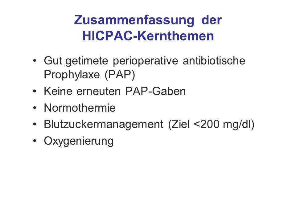 Zusammenfassung der HICPAC-Kernthemen Gut getimete perioperative antibiotische Prophylaxe (PAP) Keine erneuten PAP-Gaben Normothermie Blutzuckermanage