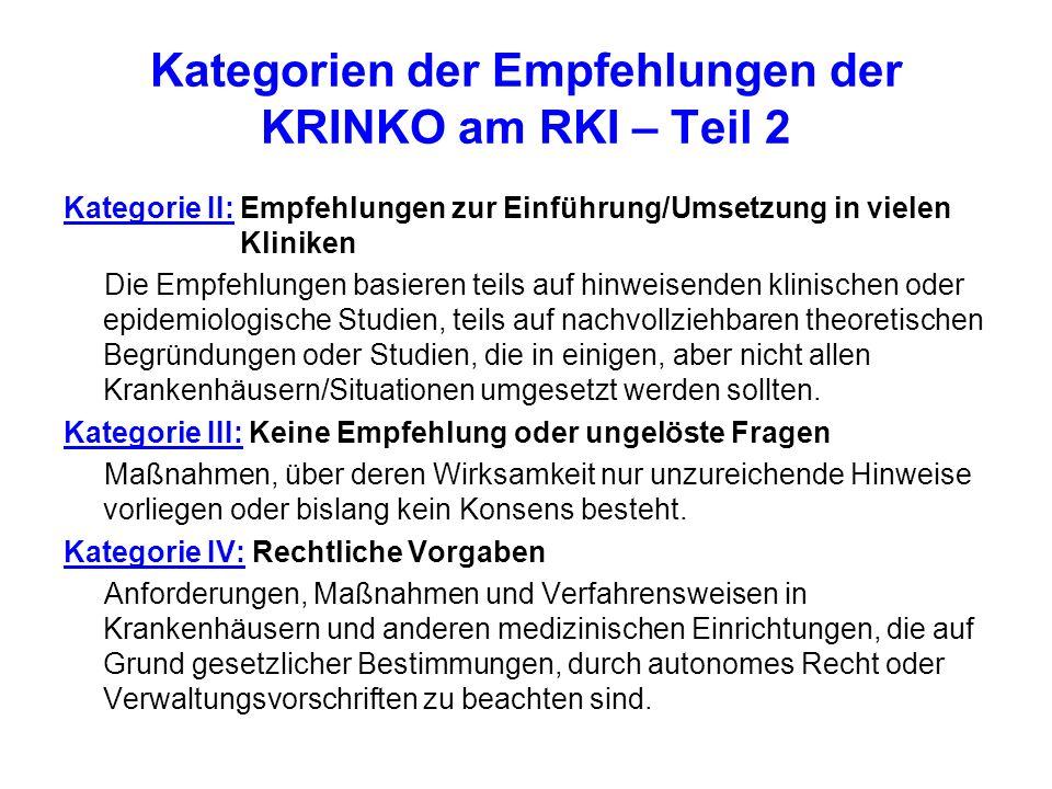 Kategorien der Empfehlungen der KRINKO am RKI – Teil 2 Kategorie II: Empfehlungen zur Einführung/Umsetzung in vielen Kliniken Die Empfehlungen basiere