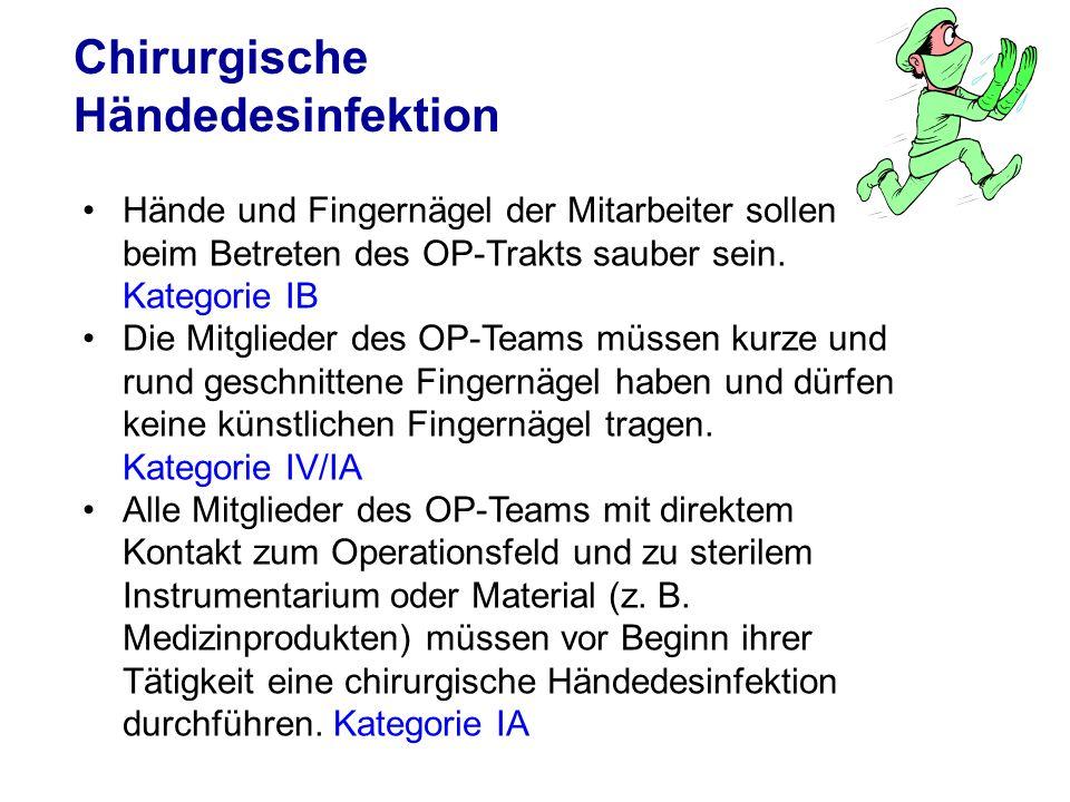 Chirurgische Händedesinfektion Hände und Fingernägel der Mitarbeiter sollen beim Betreten des OP-Trakts sauber sein. Kategorie IB Die Mitglieder des O