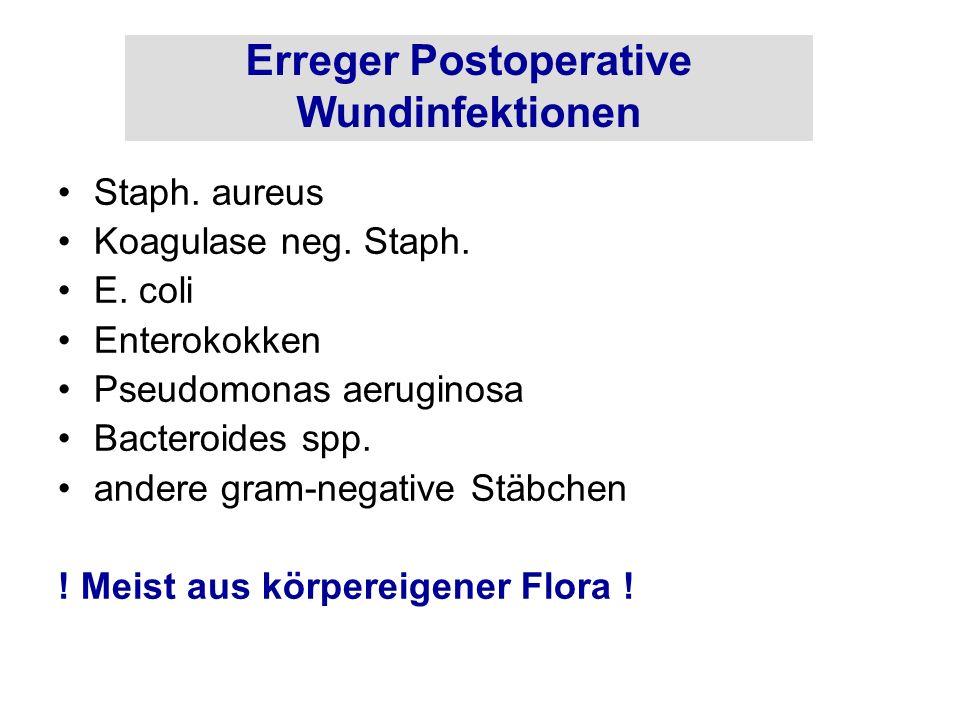 Erreger Postoperative Wundinfektionen Staph. aureus Koagulase neg. Staph. E. coli Enterokokken Pseudomonas aeruginosa Bacteroides spp. andere gram-neg