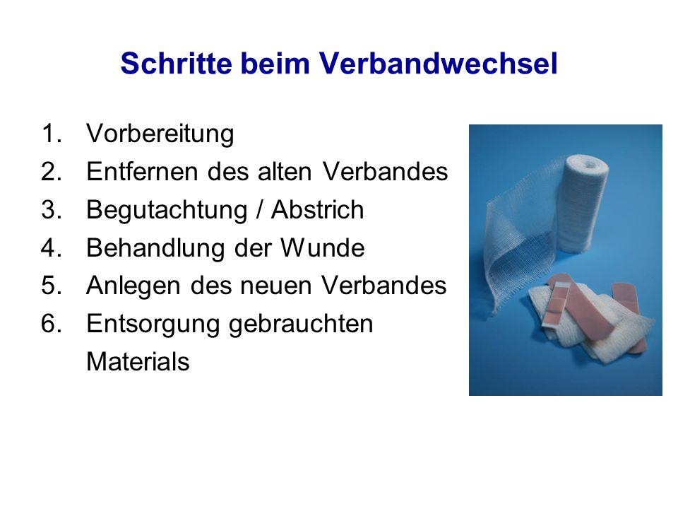 Schritte beim Verbandwechsel 1.Vorbereitung 2.Entfernen des alten Verbandes 3.Begutachtung / Abstrich 4.Behandlung der Wunde 5.Anlegen des neuen Verba