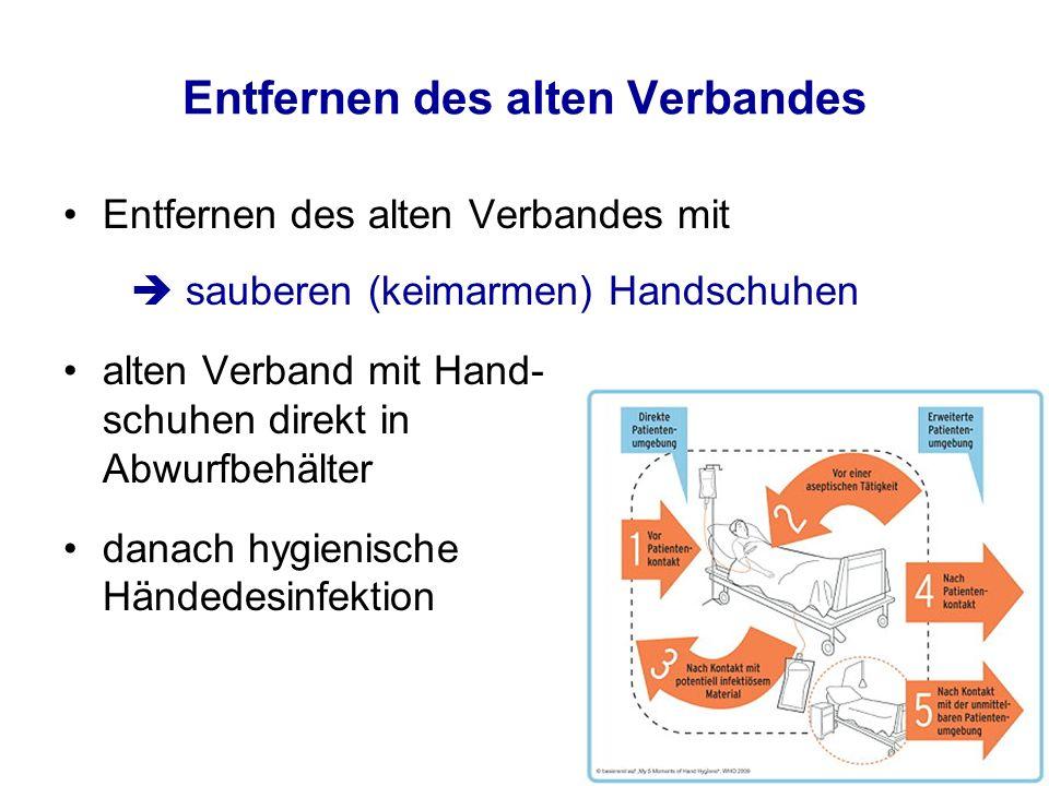 Entfernen des alten Verbandes Entfernen des alten Verbandes mit  sauberen (keimarmen) Handschuhen alten Verband mit Hand- schuhen direkt in Abwurfbeh