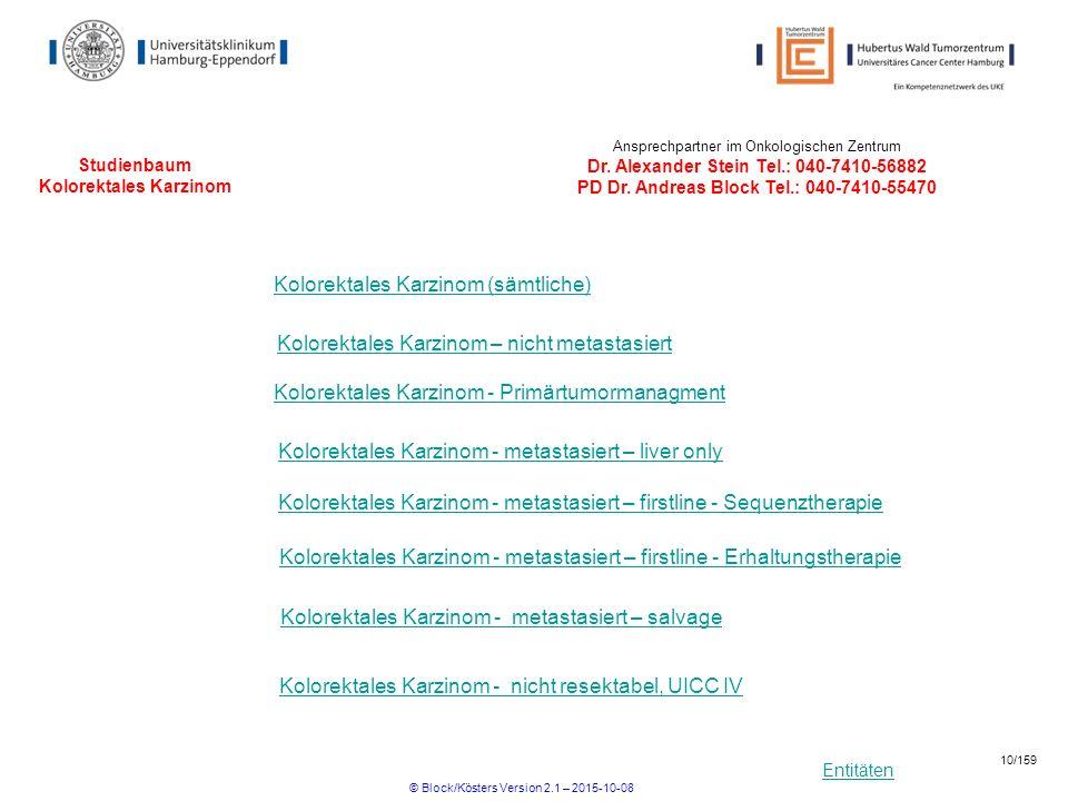 Entitäten Studienbaum Kolorektales Karzinom Kolorektales Karzinom - metastasiert – liver only Kolorektales Karzinom - metastasiert – firstline - Seque