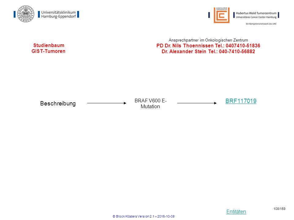 Entitäten Studienbaum GIST-Tumoren BRF117019 Ansprechpartner im Onkologischen Zentrum PD Dr. Nils Thoennissen Tel.: 0407410-51836 Dr. Alexander Stein