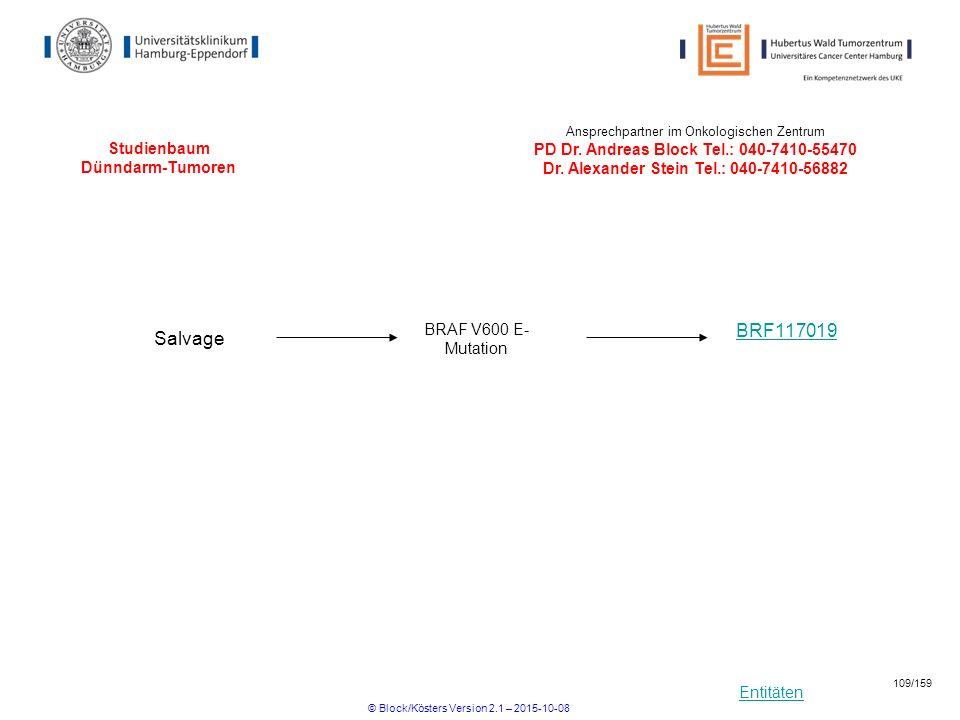 Entitäten Studienbaum Dünndarm-Tumoren BRF117019 Salvage BRAF V600 E- Mutation Ansprechpartner im Onkologischen Zentrum PD Dr. Andreas Block Tel.: 040
