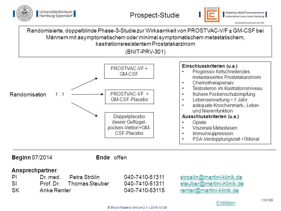 Entitäten Prospect-Studie Einschlusskriterien (u.a.) Progressiv fortschreitendes metastasiertes Prostatakarzinom Chemotherapienaiv Testosteron im Kast