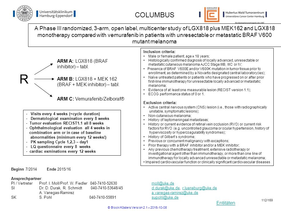 Entitäten COLUMBUS A Phase III randomized, 3-arm, open label, multicenter study of LGX818 plus MEK162 and LGX818 monotherapy compared with vemurafenib