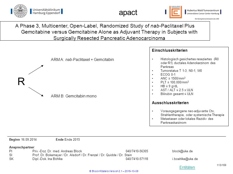 Entitäten apact A Phase 3, Multicenter, Open-Label, Randomized Study of nab-Paclitaxel Plus Gemcitabine versus Gemcitabine Alone as Adjuvant Therapy i