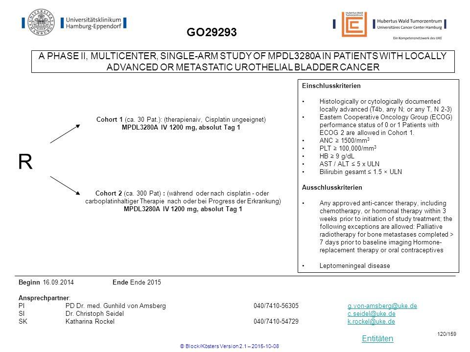 Entitäten GO29293 R Cohort 2 (ca. 300 Pat) : (während oder nach cisplatin - oder carboplatinhaltiger Therapie nach oder bei Progress der Erkrankung) M