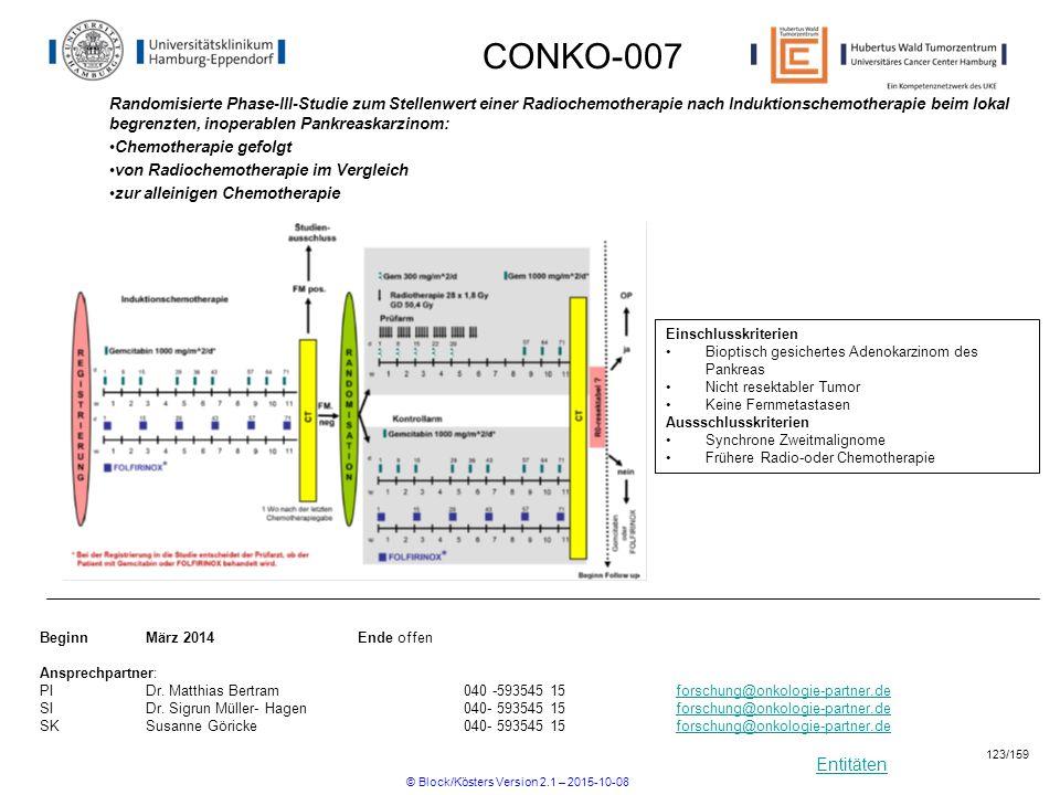 Entitäten CONKO-007 Randomisierte Phase-III-Studie zum Stellenwert einer Radiochemotherapie nach Induktionschemotherapie beim lokal begrenzten, inoper