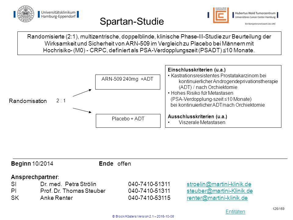 Entitäten Spartan-Studie Einschlusskriterien (u.a.) Kastrationsresistentes Prostatakarzinom bei kontinuierlicher Androgendeprivationstherapie (ADT) /
