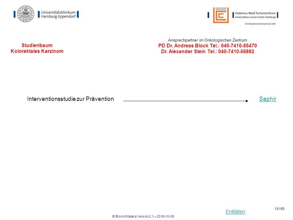 Entitäten Studienbaum Kolorektales Karzinom Ansprechpartner im Onkologischen Zentrum PD Dr. Andreas Block Tel.: 040-7410-55470 Dr. Alexander Stein Tel
