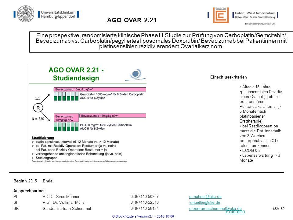 Entitäten AGO OVAR 2.21 Eine prospektive, randomisierte klinische Phase III Studie zur Prüfung von Carboplatin/Gemcitabin/ Bevacizumab vs. Carboplatin