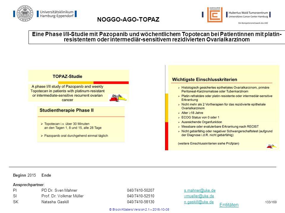 Entitäten NOGGO-AGO-TOPAZ Eine Phase I/II-Studie mit Pazopanib und wöchentlichem Topotecan bei Patientinnen mit platin- resistentem oder intermediär-s