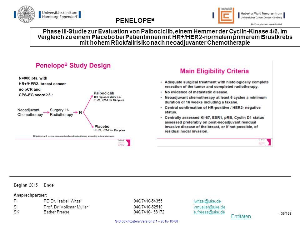 Entitäten PENELOPE B Phase III-Studie zur Evaluation von Palbociclib, einem Hemmer der Cyclin-Kinase 4/6, im Vergleich zu einem Placebo bei Patientinn
