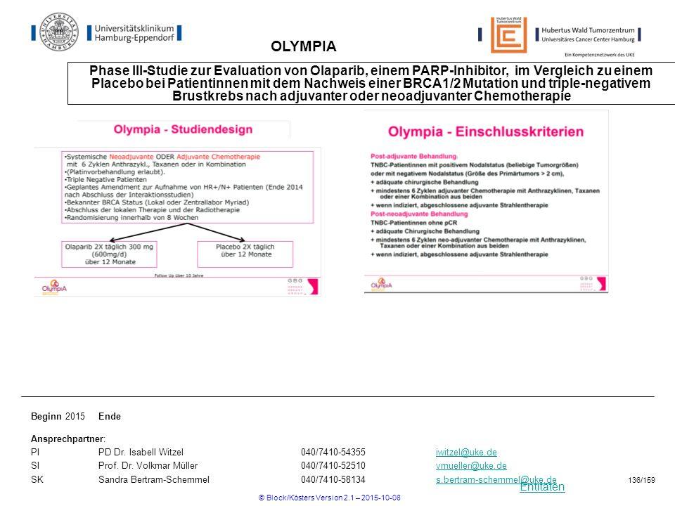 Entitäten OLYMPIA Phase III-Studie zur Evaluation von Olaparib, einem PARP-Inhibitor, im Vergleich zu einem Placebo bei Patientinnen mit dem Nachweis