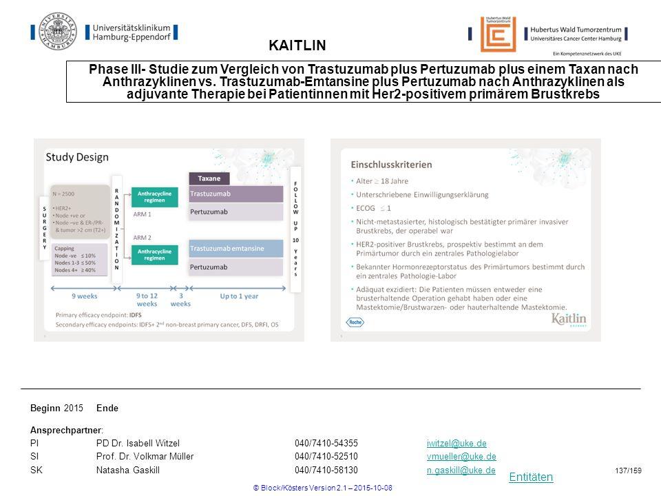 Entitäten KAITLIN Phase III- Studie zum Vergleich von Trastuzumab plus Pertuzumab plus einem Taxan nach Anthrazyklinen vs. Trastuzumab-Emtansine plus