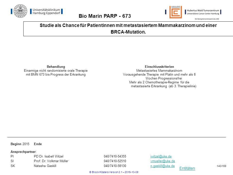 Entitäten Bio Marin PARP - 673 Studie als Chance für Patientinnen mit metastasiertem Mammakarzinom und einer BRCA-Mutation. Beginn 2015Ende Ansprechpa