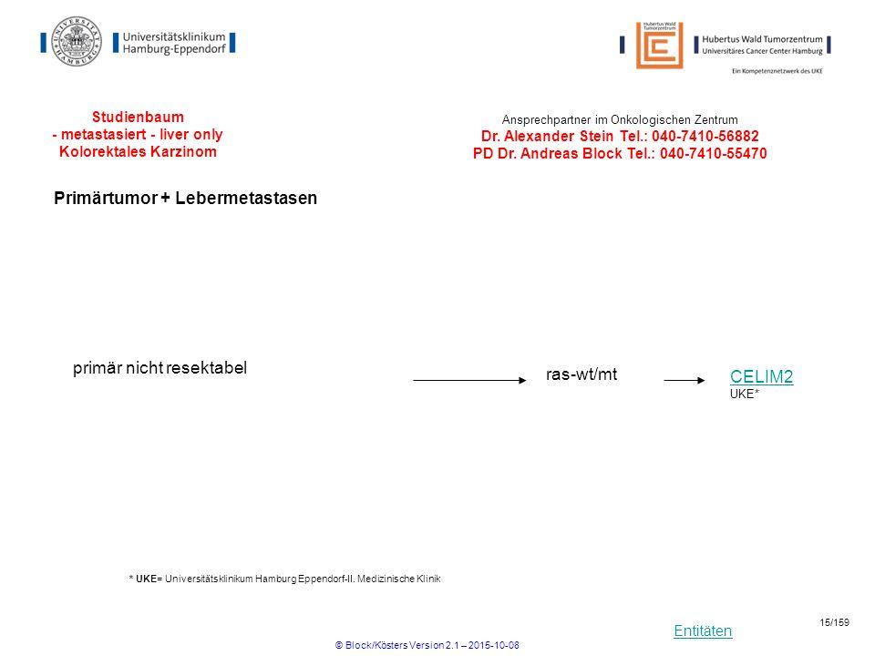 Entitäten Studienbaum - metastasiert - liver only Kolorektales Karzinom CELIM2 primär nicht resektabel ras-wt/mt UKE* * UKE= Universitätsklinikum Hamb