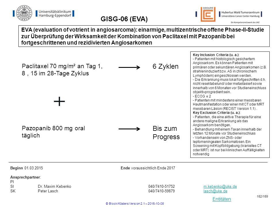 Entitäten GISG-06 (EVA) Key Inclusion Criteria (u. a.): - Patienten mit histologisch gesichertem Angiosarkom. Es können Patienten mit primären oder se