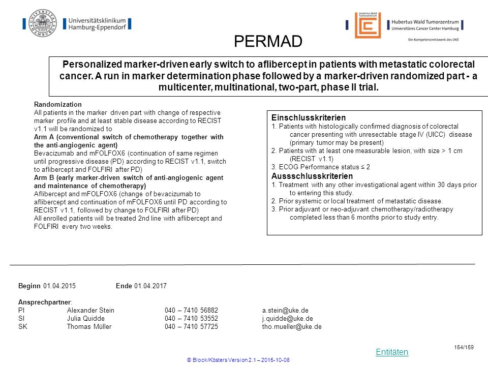Entitäten PERMAD Personalized marker-driven early switch to aflibercept in patients with metastatic colorectal cancer. A run in marker determination p