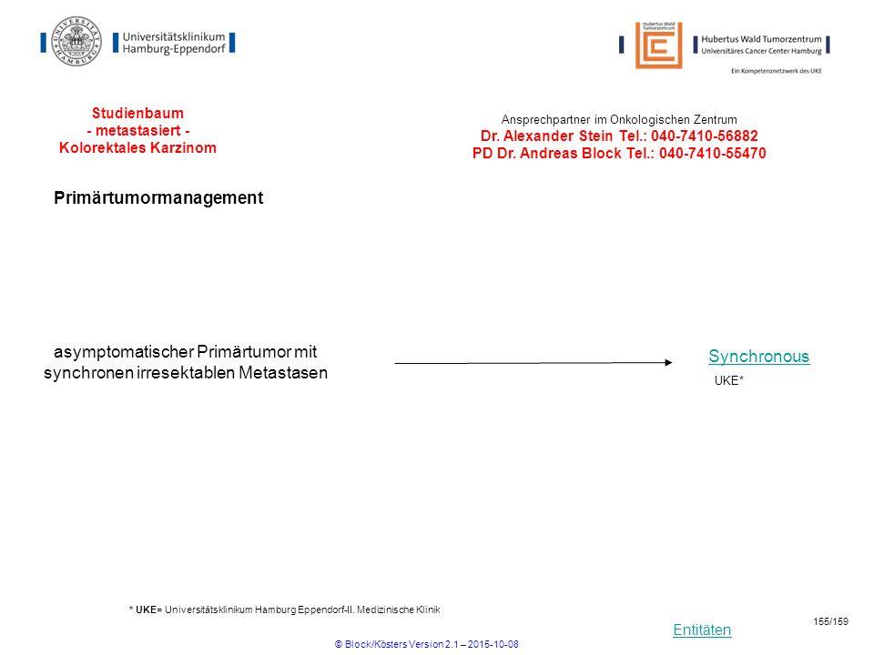 Entitäten Studienbaum - metastasiert - Kolorektales Karzinom * UKE= Universitätsklinikum Hamburg Eppendorf-II. Medizinische Klinik Ansprechpartner im