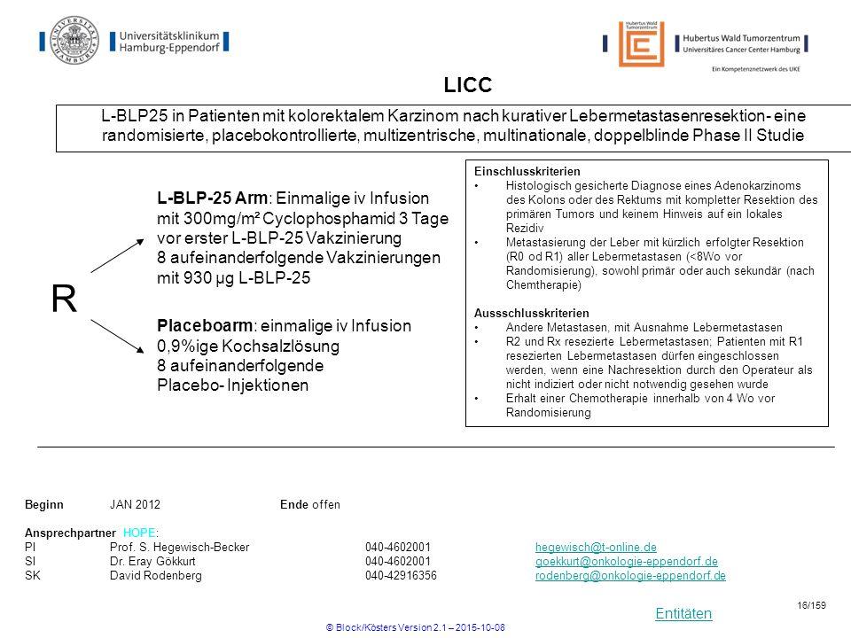 Entitäten LICC L-BLP25 in Patienten mit kolorektalem Karzinom nach kurativer Lebermetastasenresektion- eine randomisierte, placebokontrollierte, multi