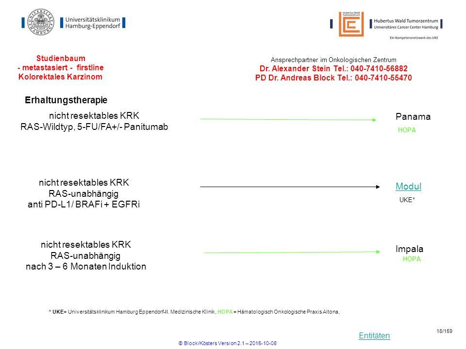 Entitäten Studienbaum - metastasiert - firstline Kolorektales Karzinom Ansprechpartner im Onkologischen Zentrum Dr. Alexander Stein Tel.: 040-7410-568
