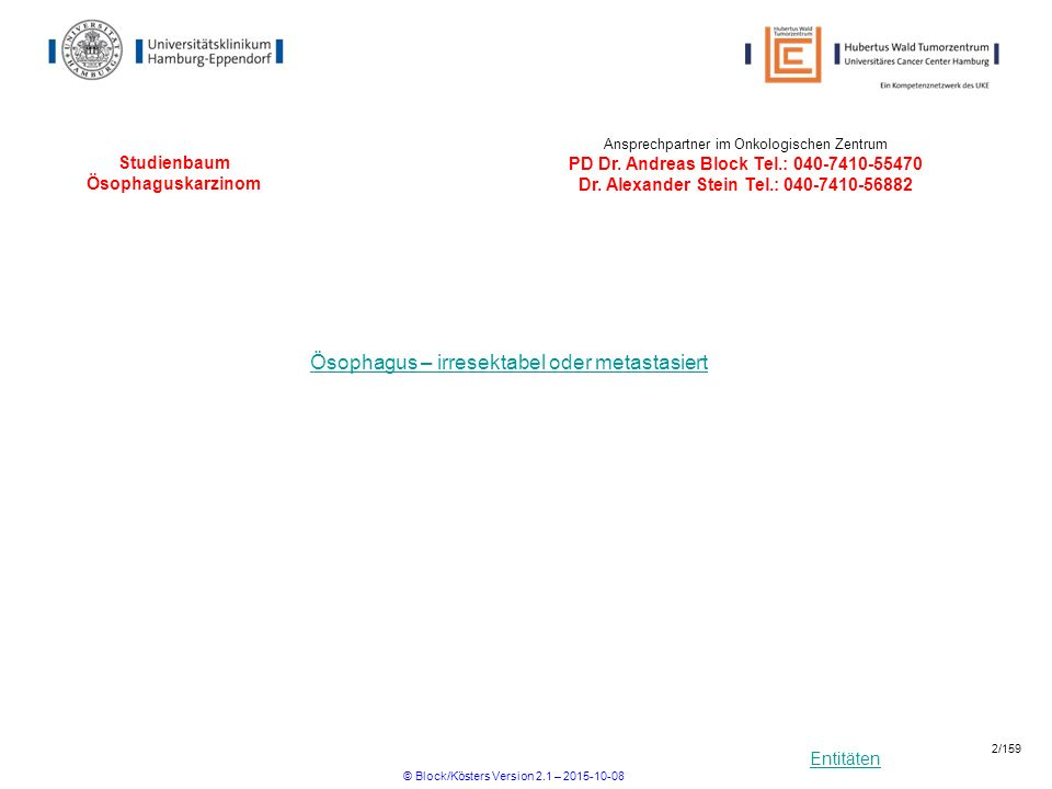 Entitäten Studienbaum Ösophaguskarzinom Ösophagus – irresektabel oder metastasiert Ansprechpartner im Onkologischen Zentrum PD Dr. Andreas Block Tel.: