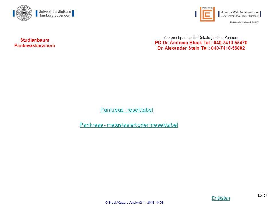 Entitäten Studienbaum Pankreaskarzinom Pankreas - resektabel Pankreas - metastasiert oder irresektabel Ansprechpartner im Onkologischen Zentrum PD Dr.