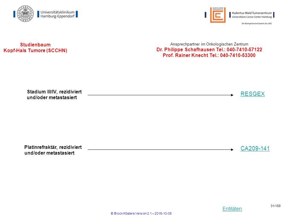 Entitäten Studienbaum Kopf-Hals Tumore (SCCHN) Ansprechpartner im Onkologischen Zentrum Dr. Philippe Schafhausen Tel.: 040-7410-57122 Prof. Rainer Kne