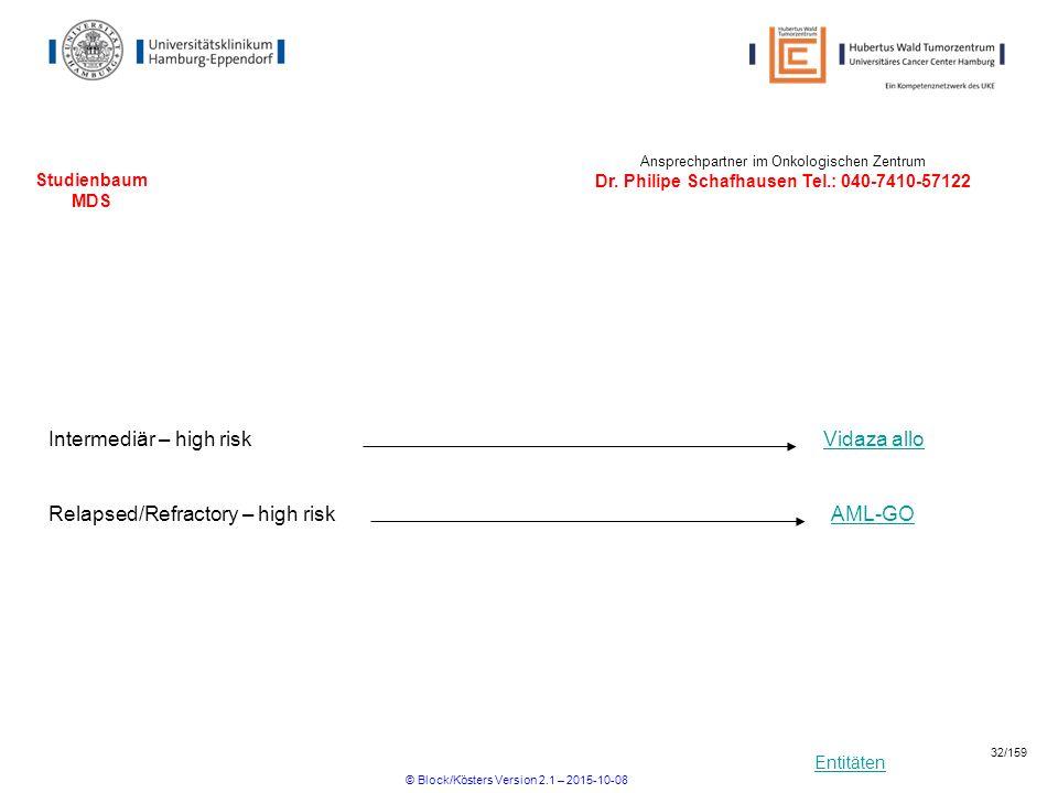 Entitäten Studienbaum MDS Intermediär – high riskVidaza allo Ansprechpartner im Onkologischen Zentrum Dr. Philipe Schafhausen Tel.: 040-7410-57122 Rel