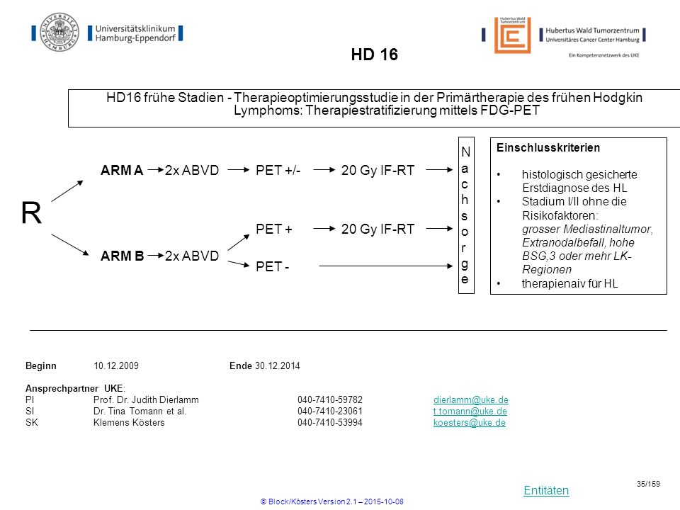 Entitäten HD 16 HD16 frühe Stadien - Therapieoptimierungsstudie in der Primärtherapie des frühen Hodgkin Lymphoms: Therapiestratifizierung mittels FDG