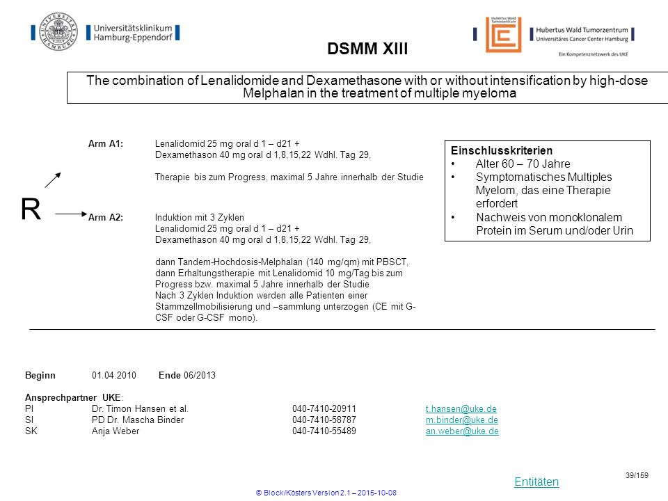 Entitäten DSMM XIII The combination of Lenalidomide and Dexamethasone with or without intensification by high-dose Melphalan in the treatment of multi