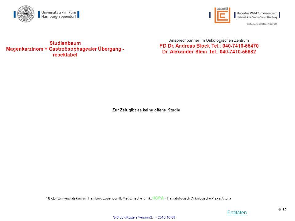 Entitäten Studienbaum Magenkarzinom Magenkarzinom + Gastroösophagaler Übergang – resektabel Ansprechpartner im Onkologischen Zentrum PD Dr.