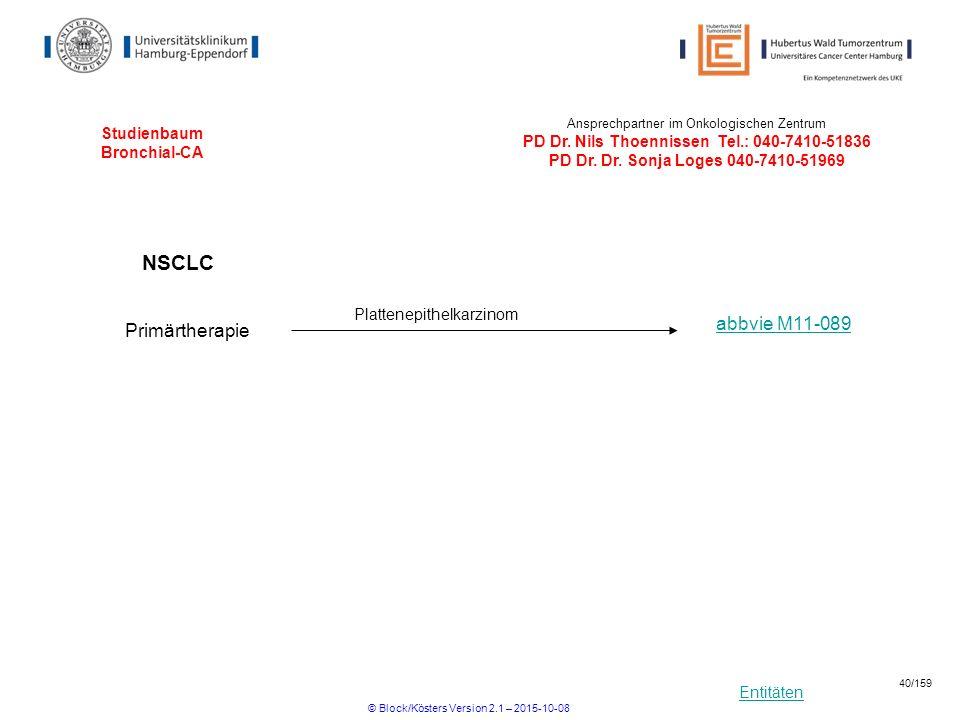 Entitäten Studienbaum Bronchial-CA Ansprechpartner im Onkologischen Zentrum PD Dr. Nils Thoennissen Tel.: 040-7410-51836 PD Dr. Dr. Sonja Loges 040-74