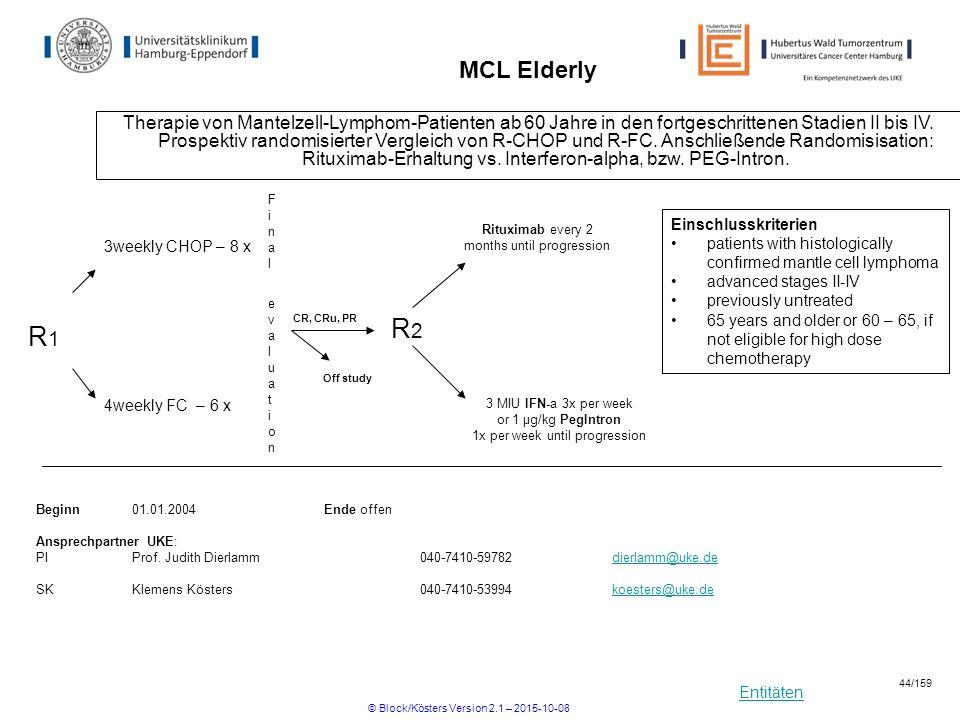 Entitäten MCL Elderly Therapie von Mantelzell-Lymphom-Patienten ab 60 Jahre in den fortgeschrittenen Stadien II bis IV. Prospektiv randomisierter Verg