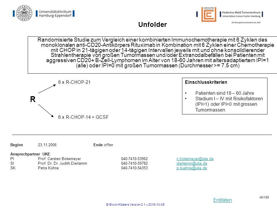 Entitäten Unfolder Randomisierte Studie zum Vergleich einer kombinierten Immunochemotherapie mit 6 Zyklen des monoklonalen anti-CD20-Antikörpers Ritux