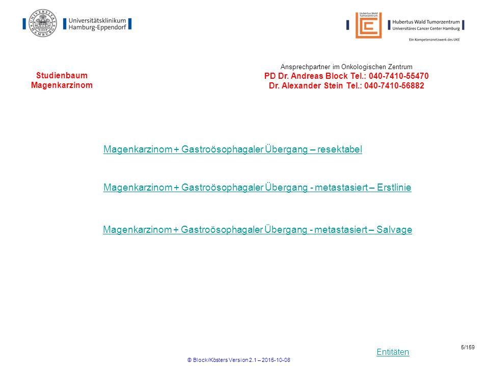 Entitäten Studienbaum Magenkarzinom Magenkarzinom + Gastroösophagaler Übergang – resektabel Ansprechpartner im Onkologischen Zentrum PD Dr. Andreas Bl