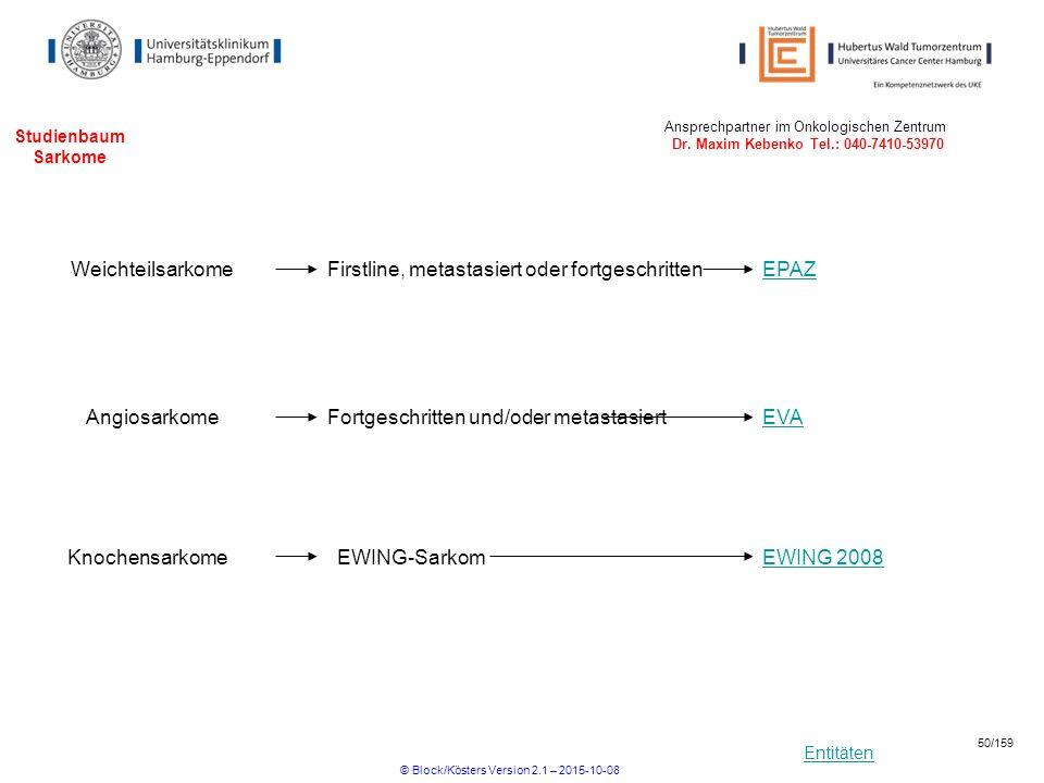 Entitäten Studienbaum Sarkome EWING 2008EWING-Sarkom Weichteilsarkome Knochensarkome Firstline, metastasiert oder fortgeschrittenEPAZ Ansprechpartner