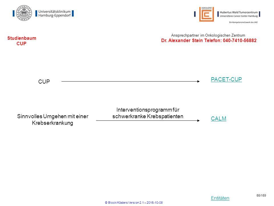 Entitäten Studienbaum CUP CUP PACET-CUP Ansprechpartner im Onkologischen Zentrum Dr. Alexander Stein Telefon: 040-7410-56882 Sinnvolles Umgehen mit ei