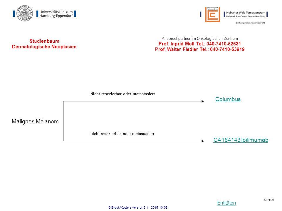 Entitäten Studienbaum Dermatologische Neoplasien Malignes Melanom Columbus Ansprechpartner im Onkologischen Zentrum Prof. Ingrid Moll Tel.: 040-7410-5
